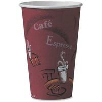 SOLO Cup Company Bistro Design Hot Drink Cups, Paper, 16oz, Maroon, 1000/Carton SCC316SI