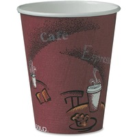 SOLO Cup Company Bistro Design Hot Drink Cups, Paper, 8oz, Maroon, 50/Pack SCC378SIPK