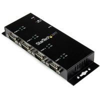 StarTech.com 4 Port USB to DB9 RS232 Serial Adapter Hub - Industrial DIN Rail and Wall Mountable - 1 x 4-pin Type B Female USB 2.0 USB, 4 x 9-pin DB-9 Male RS-232 Se