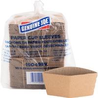 Genuine Joe Gjo19049pk Hot Cup Sleeves, 10-16oz, Corrugated, 50-Pk, Brown GJO19049PK