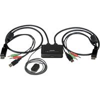 StarTech.com 2 Port USB DisplayPort Cable KVM Switch w/ Audio and Remote Switch - USB Powered - 2 Computer(s) - 1 Local User(s) - 2560 x 1600 - 3 x USBDisplayPort