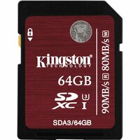 Kingston 64 GB SDXC - Class 3/UHS-I - 90 MB/s Read - 80 MB/s Write - 1 Card