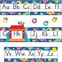 Trend Owl-Stars Alphabet Manuscript Bulltn Brd Set TEP8364