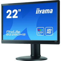 "Iiyama ProLite B2280HS-B1DP 22"" Black LED LCD Height Adjustable, Display Port"
