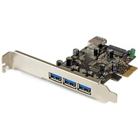 StarTech.com 4 Port PCI Express USB 3.0 Card - 3 External and 1 Internal - 4 Total USB Ports - 4 USB 3.0 Ports - PC, Linux