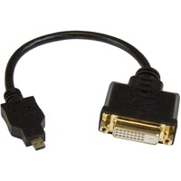 StarTech.com Micro HDMI to DVI-D Adapter M/F - 8in - 1 x Micro HDMI Male Digital Audio/Video - 1 x DVI-D Female Digital Video - Supports up to1920 x 1200 - Black
