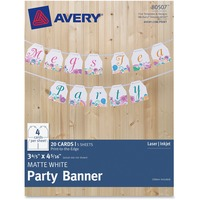 "Avery Matte White Party Banner 80507, 3-4/5"" x 4-5/16"", Pack of 20 Car AVE80507"