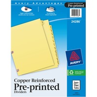 Avery Monthly Copper Reinforced Laminated Tab Divider AVE24286