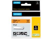 Dymo Colored Industrial Rhino Vinyl Labels - 3/4IN Length - Black - Vinyl - 1 Each (18436)