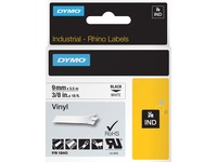 Dymo Rhino Industrial Vinyl Labels - Permanent Adhesive - 3/8IN Width x 18 ft Length - Rectangle - Thermal Transfer - (18443)