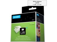 Dymo LabelWriter Address Labels - 1 1/8IN Width x 3 1/2IN Length - White - Paper - 350 / Roll - 2 / Box (30252)