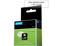 Dymo Clear Address Labels - 1 1/8IN Width x 3 1/2IN Length - Rectangle - Direct Thermal - Clear - 130 / Roll - 130 / (30254)