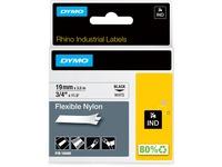 Dymo Rhino Flexible Nylon Labels - 3/4IN Width x 11 31/64 ft Length - Thermal Transfer - White, Black - Nylon - 1 Eac (18489)