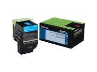 Lexmark Unison 801C Toner Cartridge - Laser - Standard Yield - 1000 Pages Cyan - Cyan - 1 Each (80C10C0)