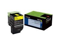 Lexmark 701Y Toner Cartridge - Laser - Standard Yield - 1000 Pages - Yellow - 1 Each (70C10Y0)