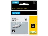 Dymo Rhino Heat Shrink Tube Labels - 3/4IN Width x 59 1/16IN Length - Direct Thermal - White, Black - Vinyl - 1 Each (18057)