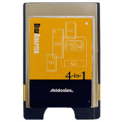 Addonics 4-in1 Digi Adapter - PC Card Adapter - Secure Digital (SD) Card, MultiMediaCard (MMC), SmartMedia Card (SM), Memory Stick