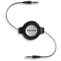 Belkin Retractable Mini-Stereo Cable - Mini-phone - Mini-phone - 1.37m - Black