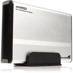 StarTech.com 3.5in Silver USB 2.0 to SATA External Hard Drive Enclosure - 1 x 3.5 - 1/3H Internal - External - Silver
