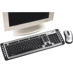 Targus Wireless Multimedia Keyboard and Optical Mouse Set - USB Wireless RF Keyboard - 103 Key - English (US) - Black, Silver - USB Wireless RF Mouse - Optical