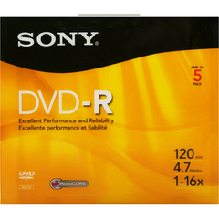Sony 5DMR47R4H DVD Recordable Media - DVD-R - 16x - 4.70 GB - 5 Pack Slim Jewel Case - 120mm2 Hour Maximum Recording Time