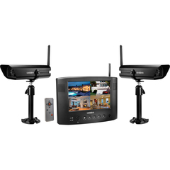"Discount Electronics On Sale Uniden UDW20055 Video Security Surveillance System - 2 x Camera, Receiver, Monitor - 7"" Active Matrix TFT Color LCD - Motion JPEG Formats"