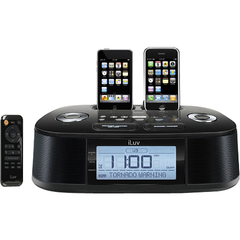 iLuv iMM183 Desktop Clock Radio - Apple Dock Interface - 2 x Alarm - FM, WB - iPhone Dock, iPod Dock