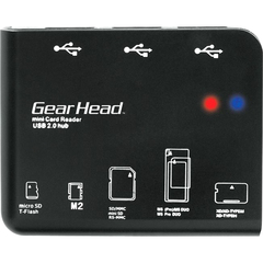 Gear Head CR7500H 58-in-1 USB 2.0 Flash Card Reader/USB Hub Combo - 58-in-1 - microSD Card, TransFlash, Memory Stick Micro (M2), Secure Digital (SD) Card, Multi