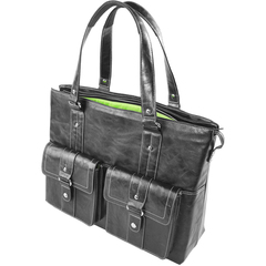 WIB Nairobi Black Leather Look - Tote - Shoulder Strap16.1