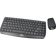 SIIG Wireless Multimedia Mini Keyboard & Mouse - USB Wireless RF Keyboard - 87 Key - Black - USB Wireless RF Mouse - Optical - 800 dpi - 3 Button - Scroll Wheel