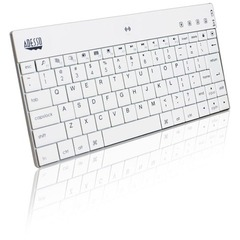 Adesso Bluetooth Mini Keyboard 1000 for iPad - Wireless - Bluetooth - White - 84 Key - English (US) - Screenshot, Mute, Volume Up, Volume Down, Next Track, Prev