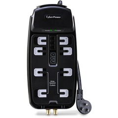 CyberPower CSHT808TC Home Theater 8-Outlets Surge Suppressor 8FT Cord and AV protection - Receptacles: 8 x NEMA 5-15R - 2850J