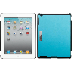 Luardi Leather Snap on Back Cover - Compt. With Smart Cover and LockFeature - Blue - iPad - Blue - Leather