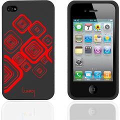 Luardi Silicone Pattern Case for iPhone 4/4S BLK/RED - iPhone - Black, Red - Red Pattern - Silky - Silicone