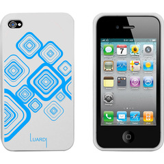 Luardi Silicone Pattern Case for iPhone 4/4S White/Blue - iPhone - White, Blue - Blue Pattern - Silky - Silicone