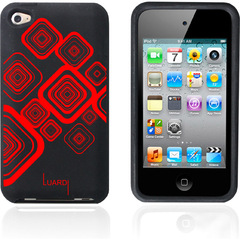 Luardi Silicone Pattern Case for iPod Touch Black/Red - iPod - Black, Red - Red Pattern - Silky - Silicone
