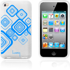 Luardi Silicone Pattern Case for iPod Touch White/Blue - iPod - White, Blue - Blue Pattern - Silky - Silicone