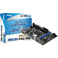 MSI H61M-P31/W8 Desktop Motherboard - Intel H61(B3) Express Chipset - Socket H2 LGA-1155 - Micro ATX - 1 x Processor Support - 16 GB DDR3 SDRAM Maximum RAM - Se