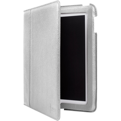 Luardi Smart Cover Cover Case (Portfolio) for iPad - White - Saffiano Leather Pattern - Leather