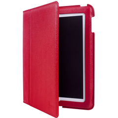 Luardi Smart Cover Cover Case (Portfolio) for iPad - Red - Saffiano Leather Pattern - Leather