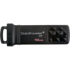 Kingston DataTraveler 111 16 GB USB 3.0 Flash Drive - Black - External