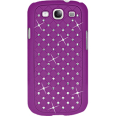 Amzer Diamond Lattice Snap On Shell Case - Purple For Samsung GALAXY S III GT-I9300 - Smartphone - Purple - Diamond Lattice, Rhombic Pattern - Satin