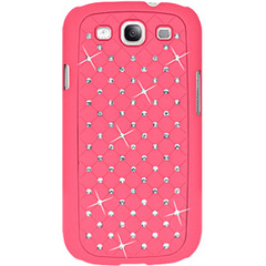 Amzer Diamond Lattice Snap On Shell Case - Hot Pink For Samsung GALAXY S III GT-I9300 - Smartphone - Hot Pink - Diamond Lattice, Rhombic Pattern - Satin