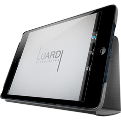 Luardi SmartCover Carrying Case (Portfolio) for iPad mini - Black - Saffiano Leather Pattern - Italian Leather