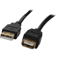 Rosewill RCAB-11007 USB Extension Data Transfer Cable - USB - 15 ft - 1 x Type A Male USB - 1 x Type A Female USB - Gold-plated Connectors - Black