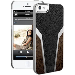 iLuv Panamera Premium Leather-wrapped Hardshell Case for iPhone 5 - iPhone - Black - Leather, Faux Wood