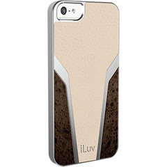 iLuv Panamera Premium Leather-wrapped Hardshell Case for iPhone 5 - iPhone - Tan - Leather, Faux Wood
