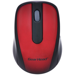 Gear Head 2.4 GHz Wireless Optical Nano Mouse - Optical - Wireless - Radio Frequency - Red, Black - USB - 1000 dpi - Scroll Wheel