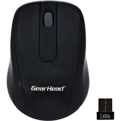 Gear Head 2.4 GHz Wireless Optical Nano Mouse - Optical - Wireless - Radio Frequency - Black, Silver - USB - 1000 dpi - Scroll Wheel