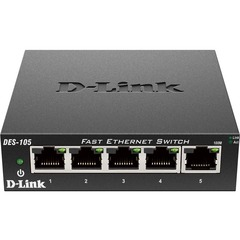 D-Link DES-105 5-Port 10/100 Desktop Switch - 5 x 10/100Base-TX LAN